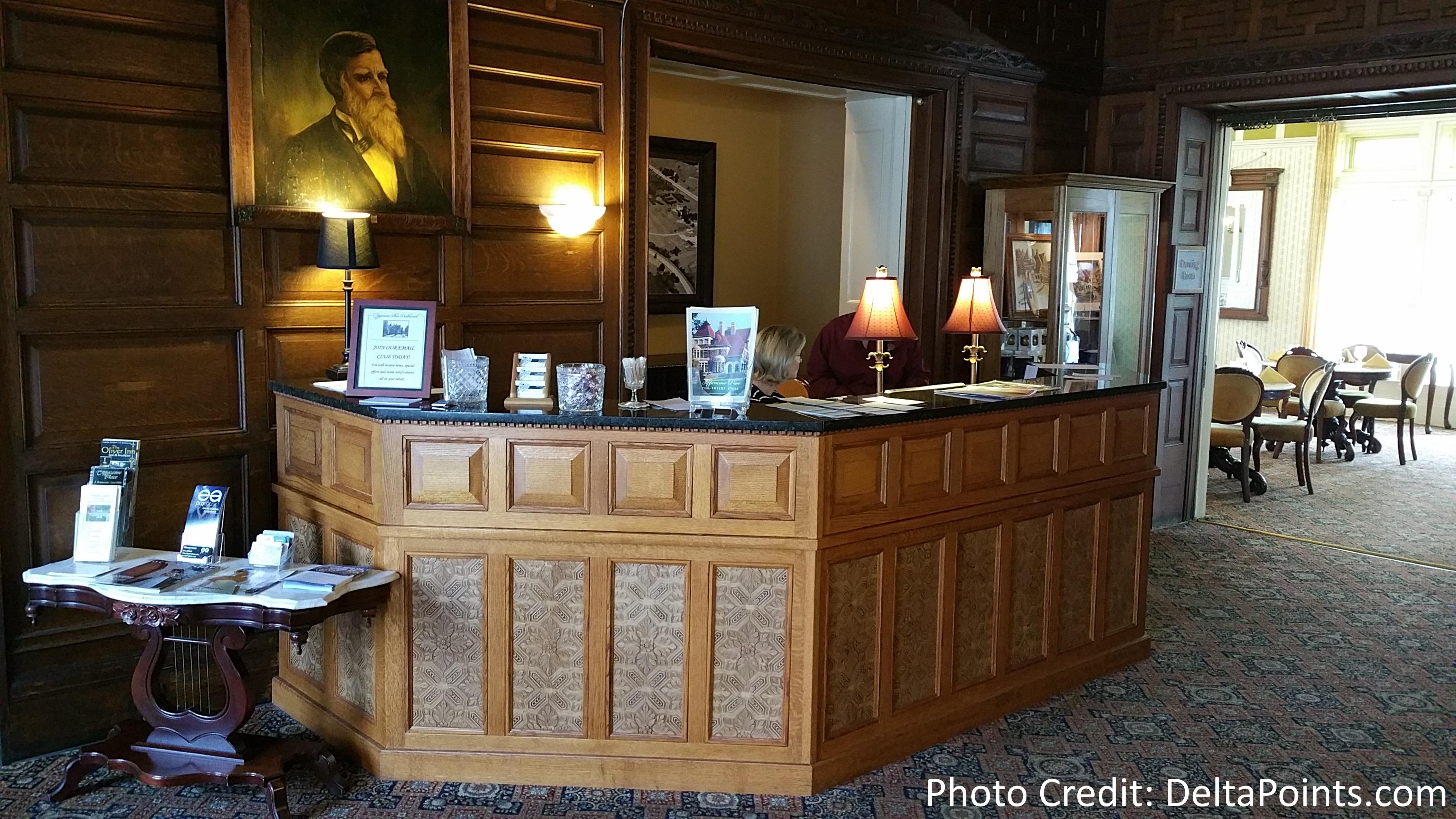 Reception area with a portrait of Benjamin Harrison.