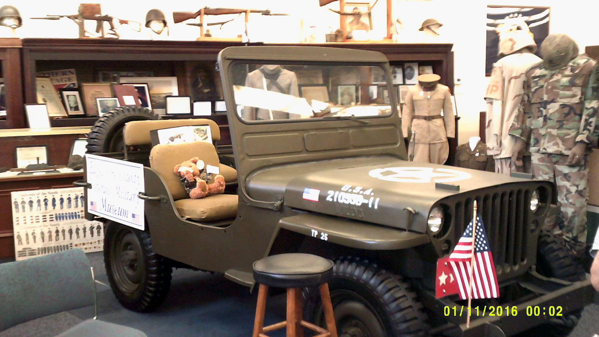 1942 Willys Jeep. Donated by Joel K Bourne, and restored by the Auto Trade Department of Edgecombe Community College. This jeep is fully functional and used for parades and other civic events.