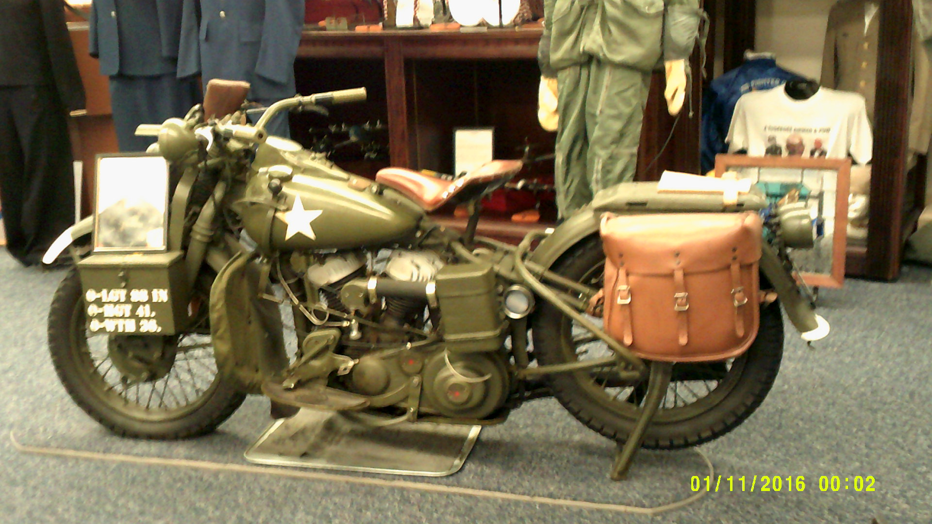 1943 Harley Davidson WLC Army messenger Motorcycle with a 45 CI (cubic inch) Flathead motor.