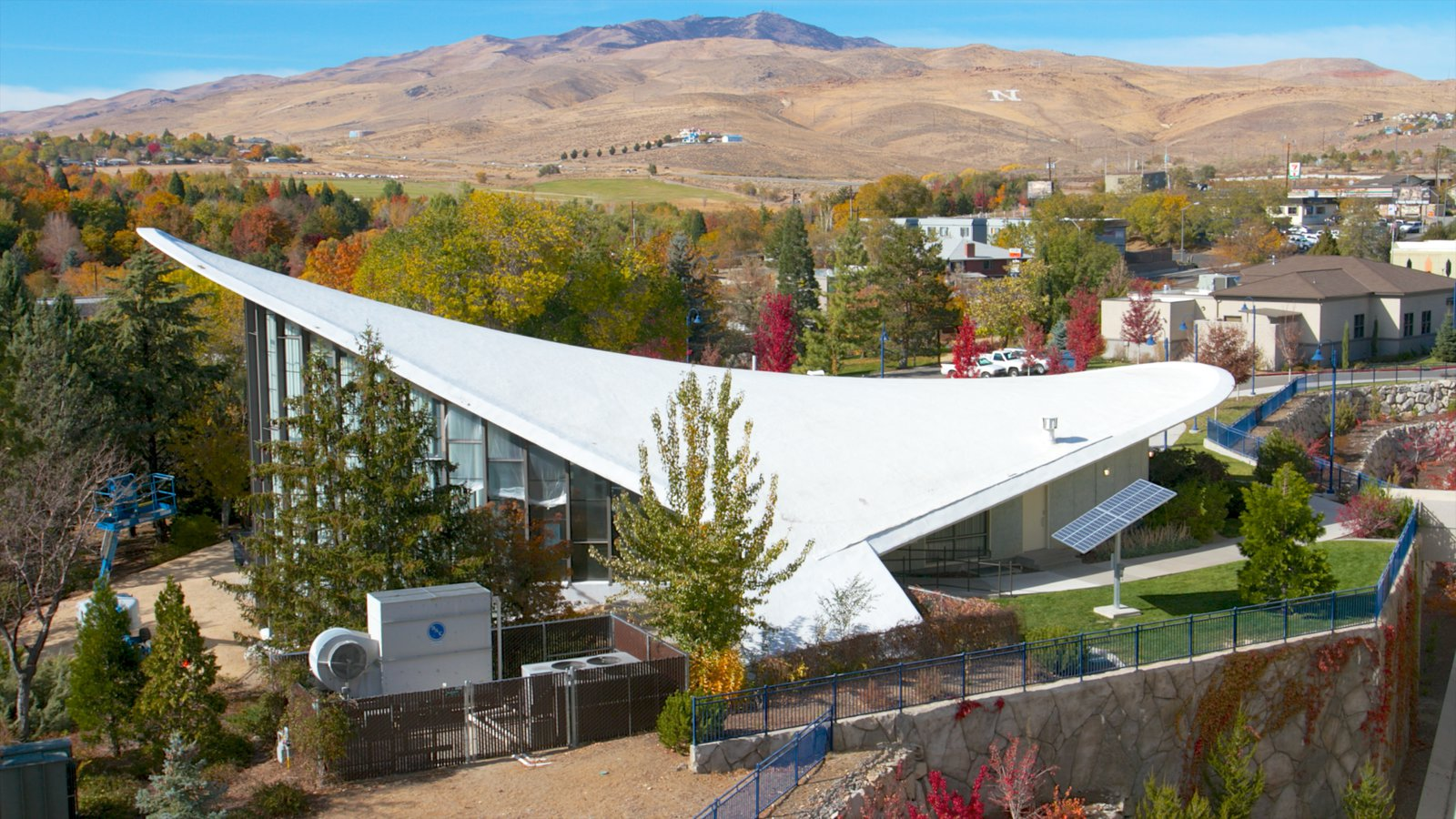 """The building was designed in a shape the architect called """"hyperbolic paraboloid."""""""