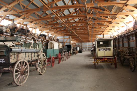 Wagons are featured in this building along with cars and other items