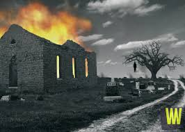 This picture is a depiction of some of the legends that are said to happen at the cemetery. The church was said to have caught fire spontaneously, causing the roof to collapse. There are also stories of witches being hung from a tree in the cemetery as a satanic ritual. This picture is obviously fake but just shows a depiction of some of the stories being told.