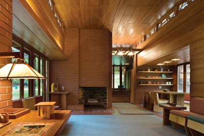 Interior of the Pope-Leighey House by Paul Buck for National Trust for Historic Preservation (reproduced under Fair Use)