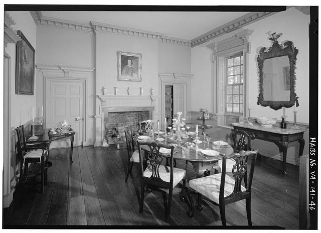 Dining room inside the home, Historic American Buildings Survey (no known restrictions)