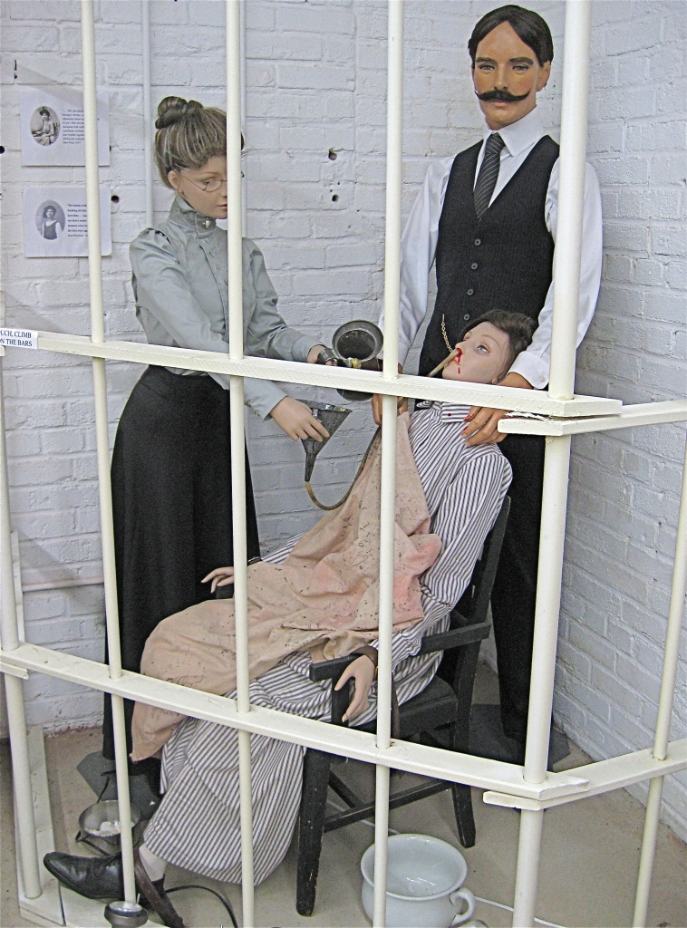 Exhibits showcasing force-feeding and torture at the workhouse, Workhouse Museum (reproduced under fair use).