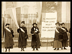 Women suffragists protesting outside in Washington DC, Library of Congress (public domain).