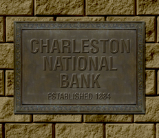 This plaque commemorates construction of the first Charleston National Bank  in 1884.