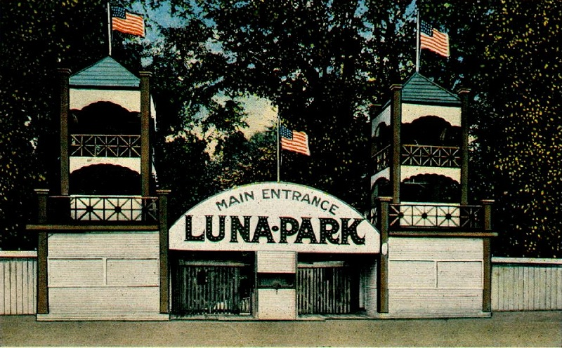 This photo shows the main entrance to Luna Park as it was in 1912.