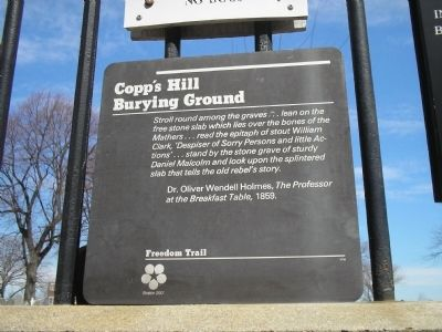 Copp's Hill Burying Ground marker (image from Historic Markers Database)