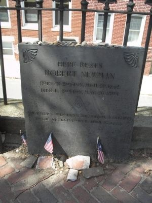 Grave of Robert Newman, who signaled Paul Revere on April 18, 1775 (image from Historic Markers Database)