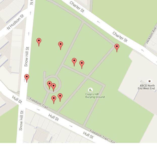 Mapped locations of historical markers and interpretive signage in Copp's Hill Burying Ground (map from Historic Markers Database)