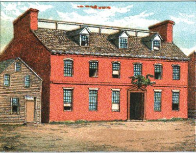 A drawing of the original Green Dragon Tavern (image from Good Old Boston)