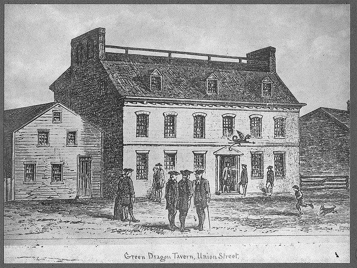 Historic image of the original Boston Green Dragon Tavern (image from the Green Dragon Tavern & Museum of California)