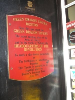 Green Dragon Tavern marker at 11 Marshall St., Boston (image from Historic Marker Database)