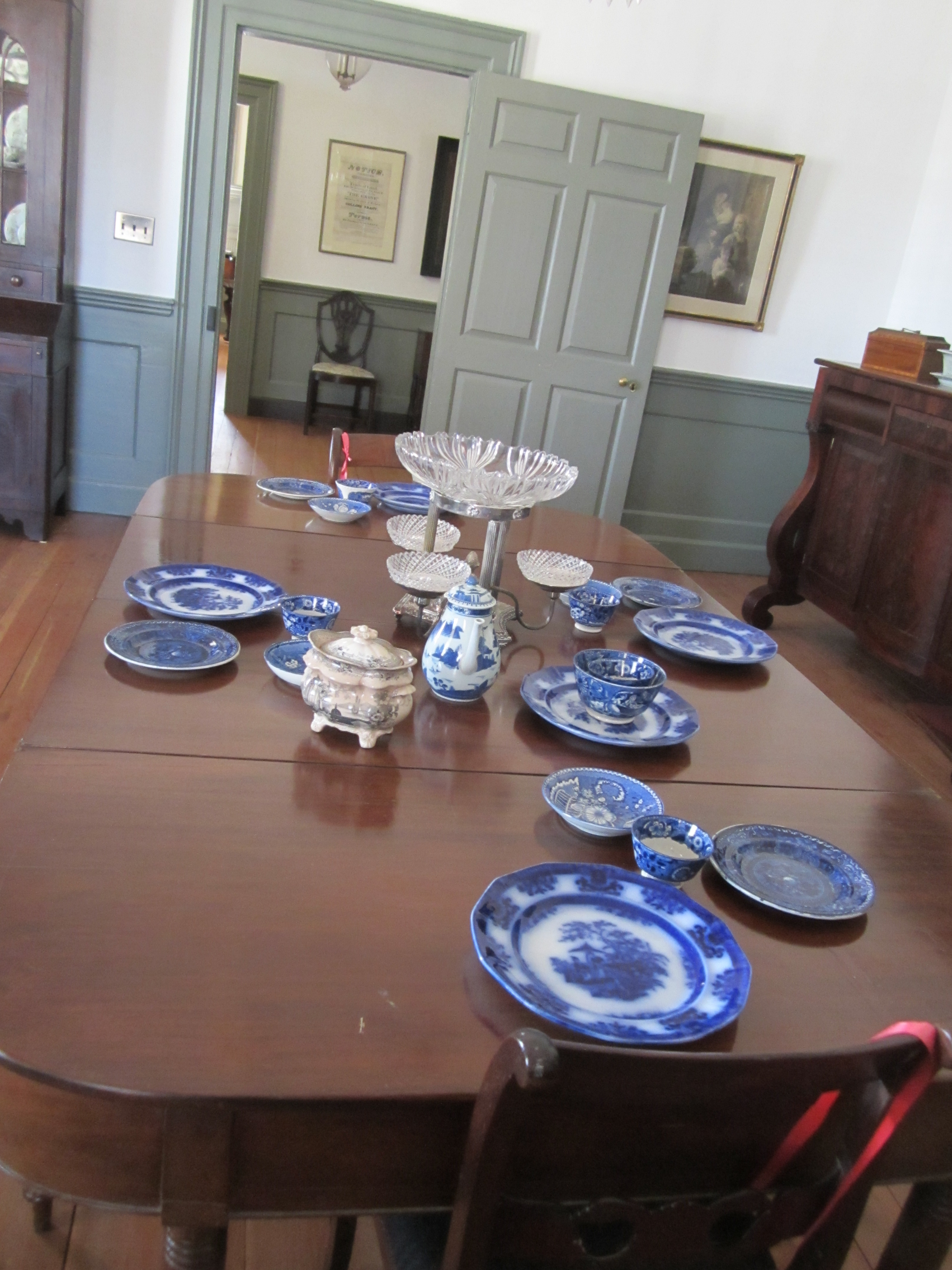 Dining room table ca 1820 originally from Shell Castle in Halifax County.