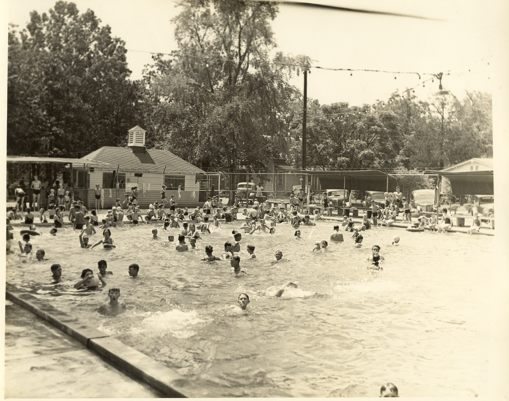 Opened in 1936 as the 1st refrigerated pool in North Carolina. It was used in regional & national swim meets in the 1940s & 1950s. The basement of the Bridgers house was used as the changing room.