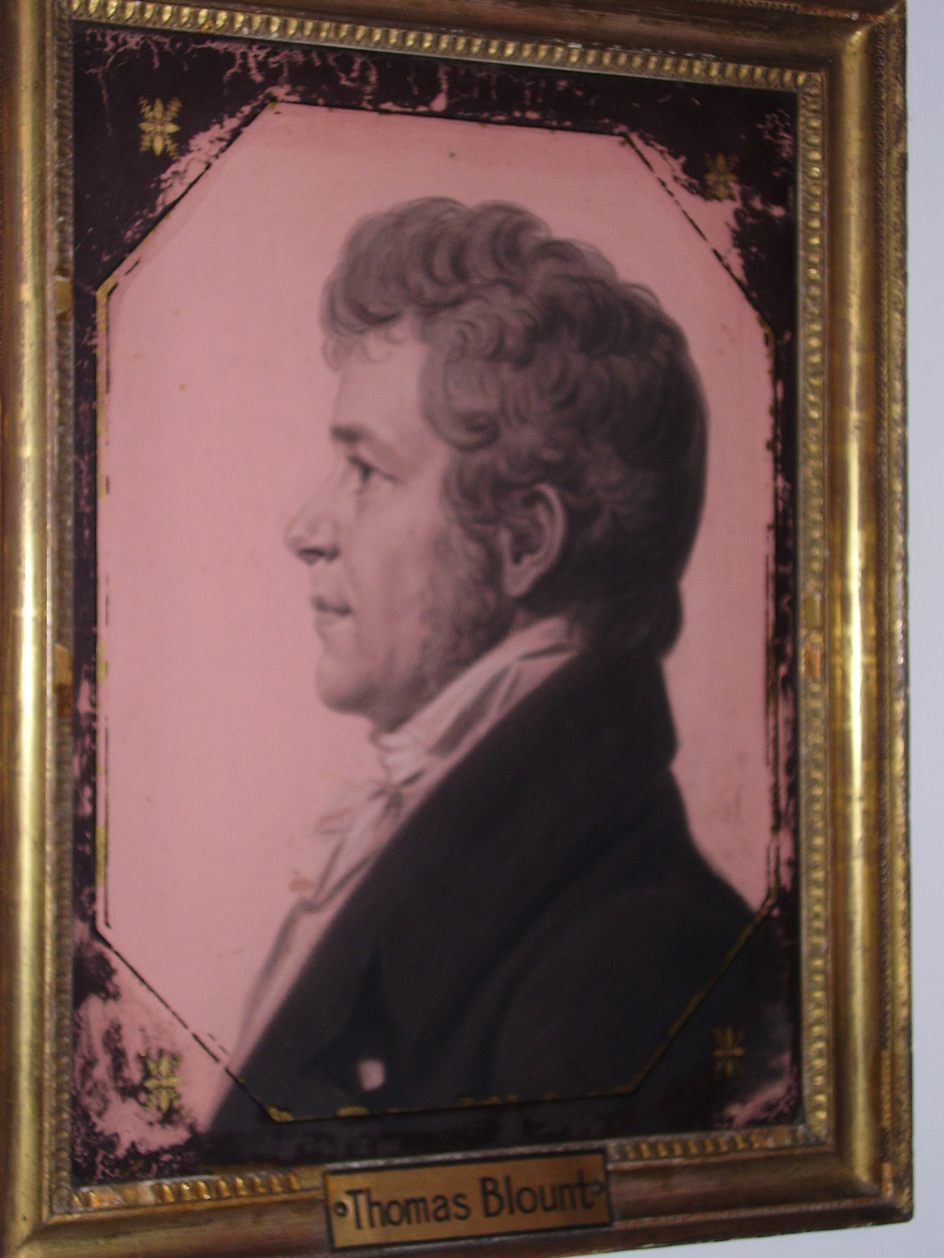 Portrait of Thomas Blount. Original owner of the house & he served as Congressman of eastern North Carolina until his death in 1812. The portrait was painted by St. Memmes.