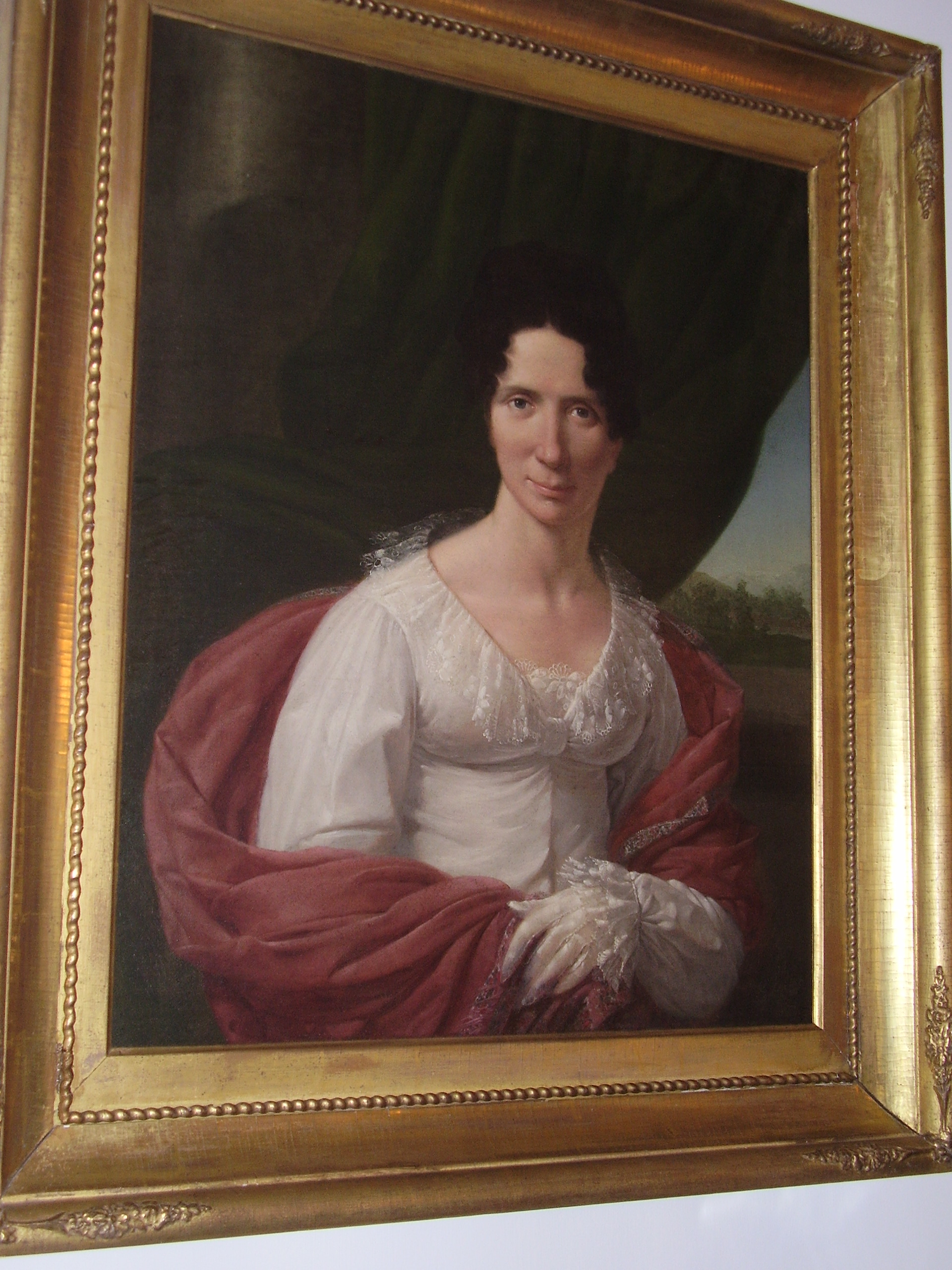 "Mary ""Jackie"" Sumner Blount, wife of Thomas Blount, lived in the house until her death in 1822.  The original portrait is at the Mordacai House in Raleigh, NC."