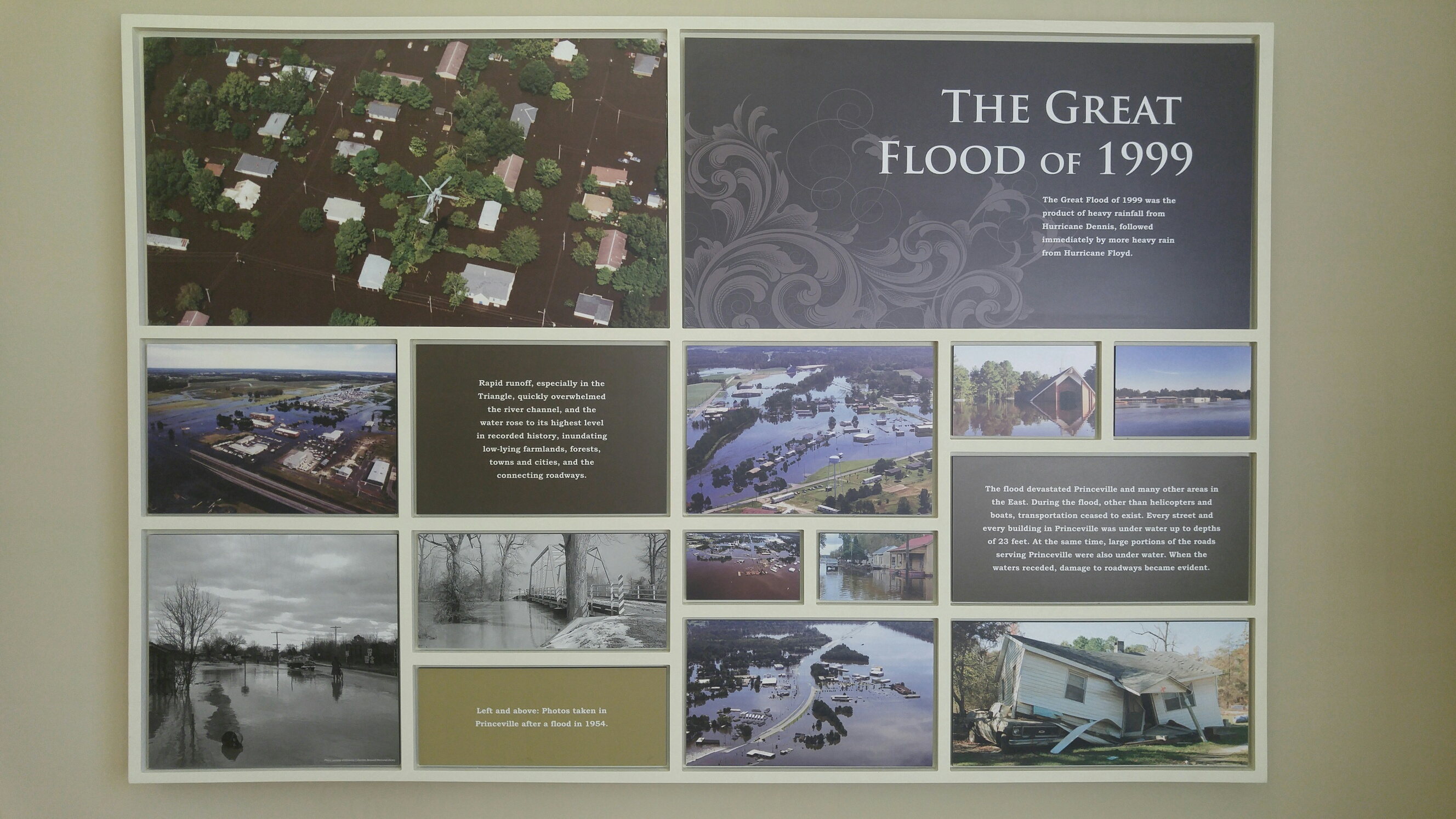 The Great Flood of 1999 was the product of heavy rainfall from Hurricane Dennis, followed immediately by more heavy rain from Hurricane Floyd. (photo by: Kayla Greene)