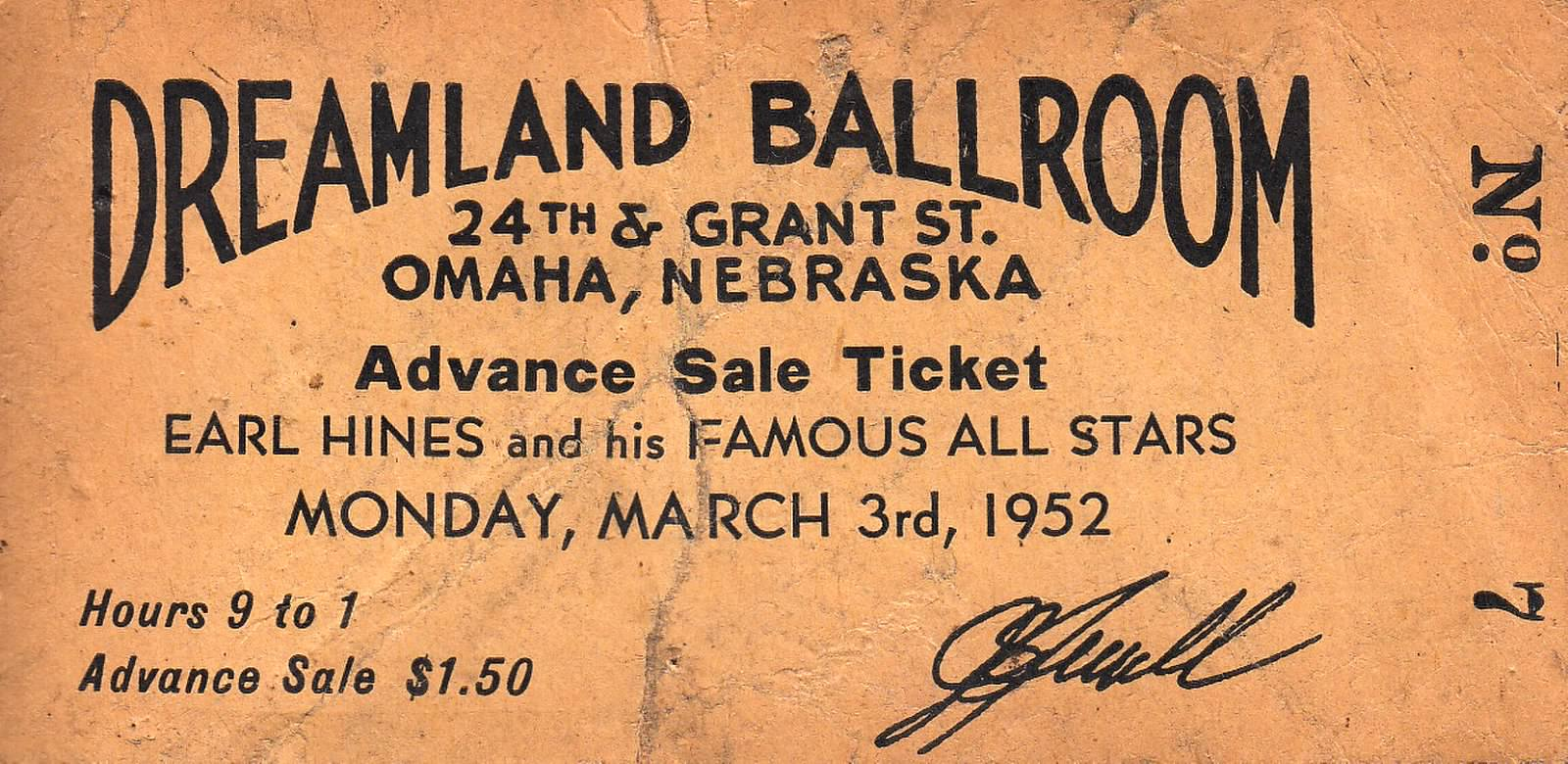 A ticket to The Dreamland Ballroom.
