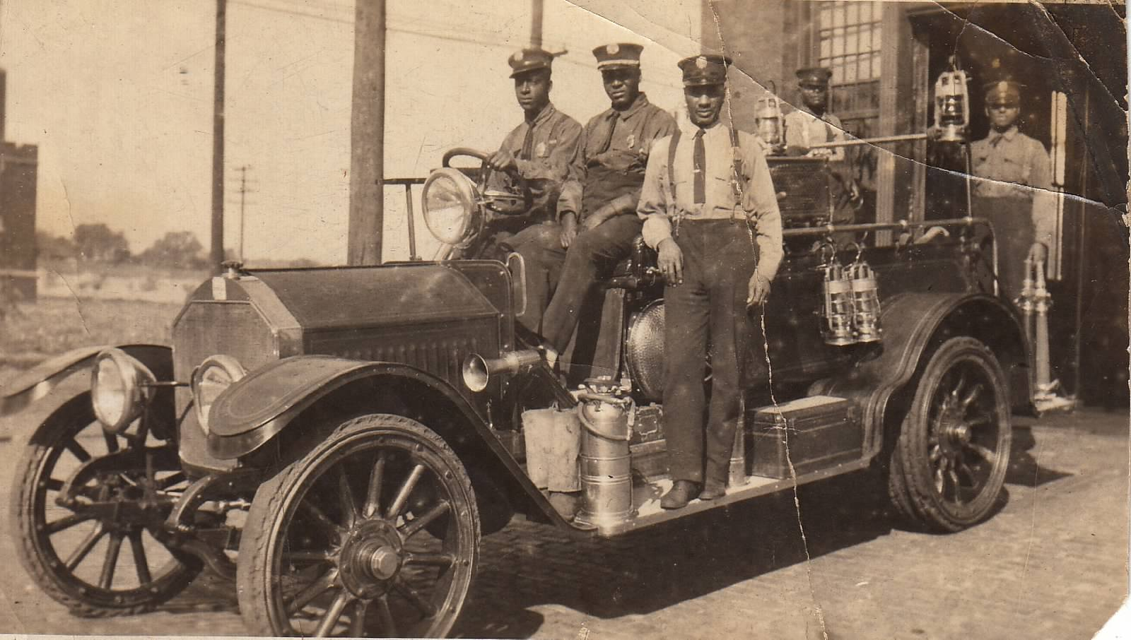 The Fire department motorized in 1916 and 1917.  Source:  Great Plains Black History Museum