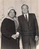 Captured in this photo is Mildred B. Brown and Hubert Humphrey. Humphrey was a Senator, known for his civil rights legislation. Brown and Humphrey were friends.