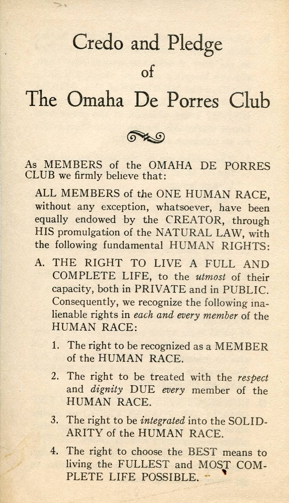 Another photo from The Great Plains Black History Museum collection. This is the pledge all members take before becoming members of the Deporres club.