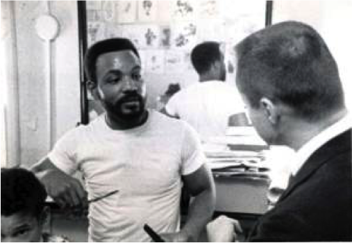 Ernie Chambers and Reverend Youngdahl in Omaha barbershop.