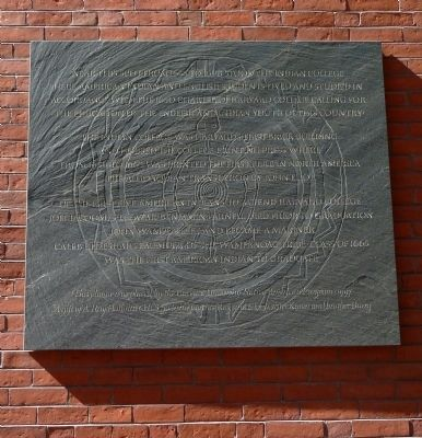 Indian College marker at Matthews Hall (image from Historic Markers Database)