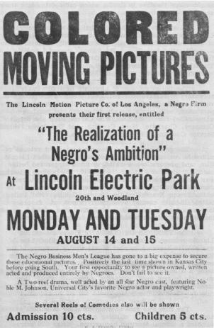 1916 advertisement for the film 'The Realization of a Negro's Ambition' at Lincoln Electric Park.