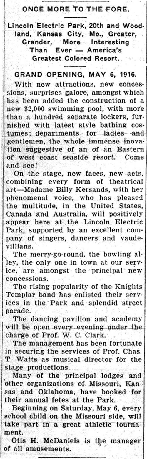 """Article about """"America's Greatest Colored Resort,"""" Kansas City Sun; April 29, 1916"""