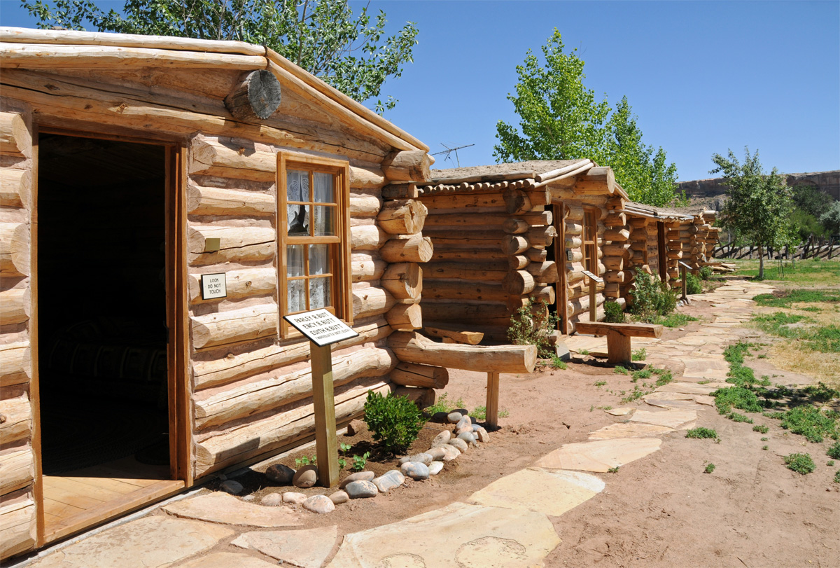 Row of replica cabins at the site