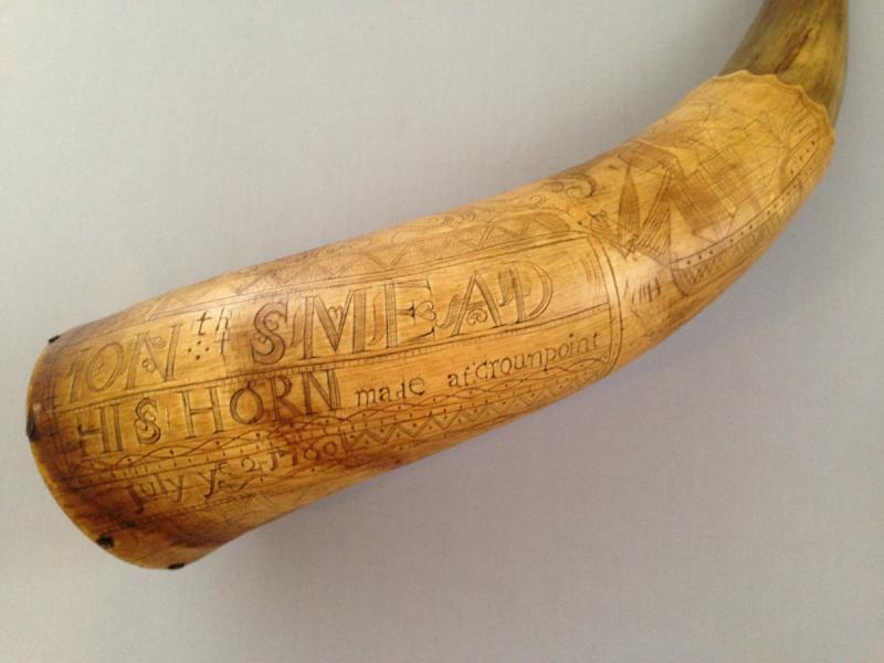 A French and Indian War powder horn.
