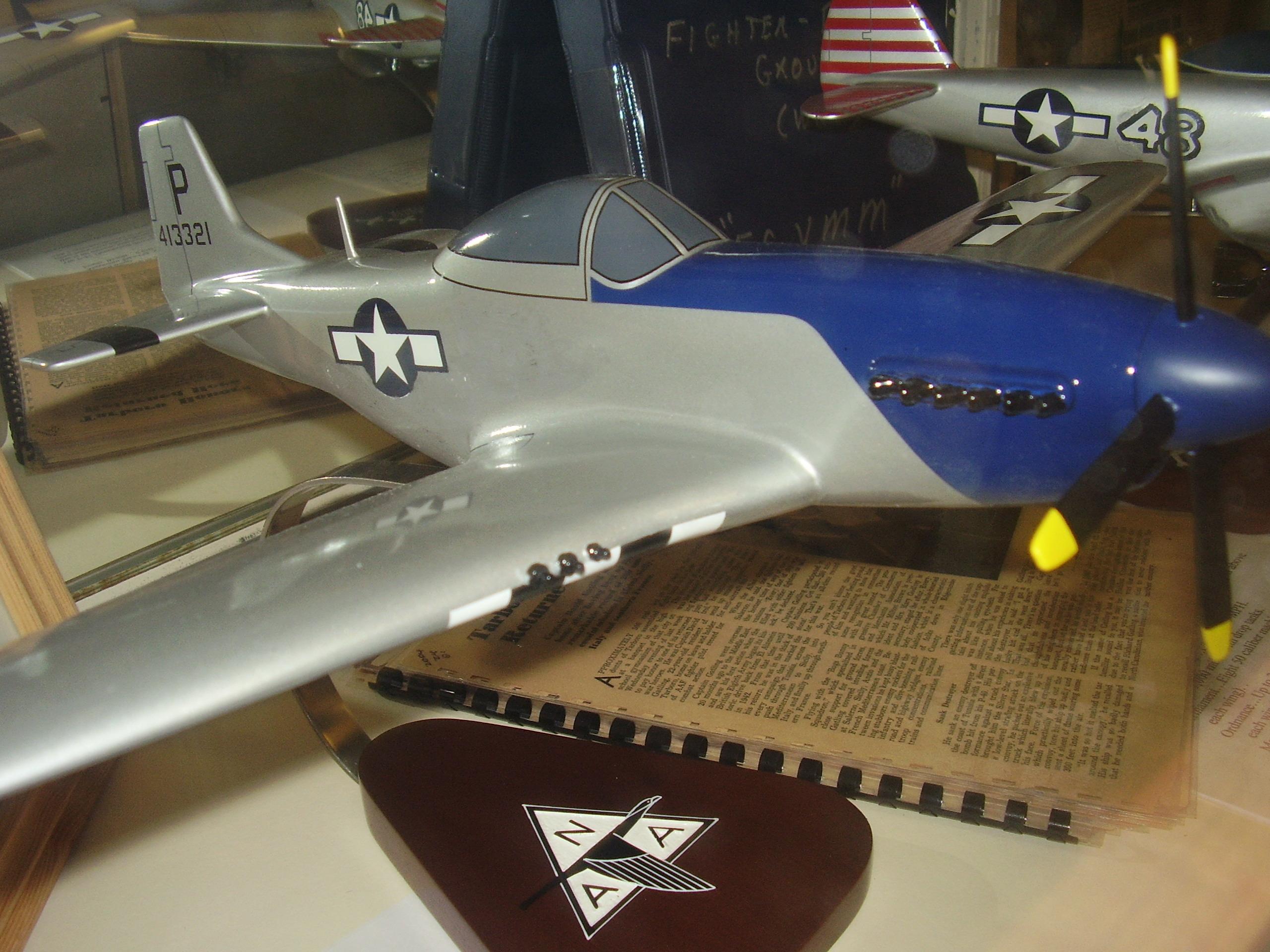 P-51 Mustang model airplane.