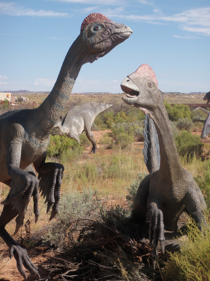 Two of the life-size dinosaurs on display on the trail