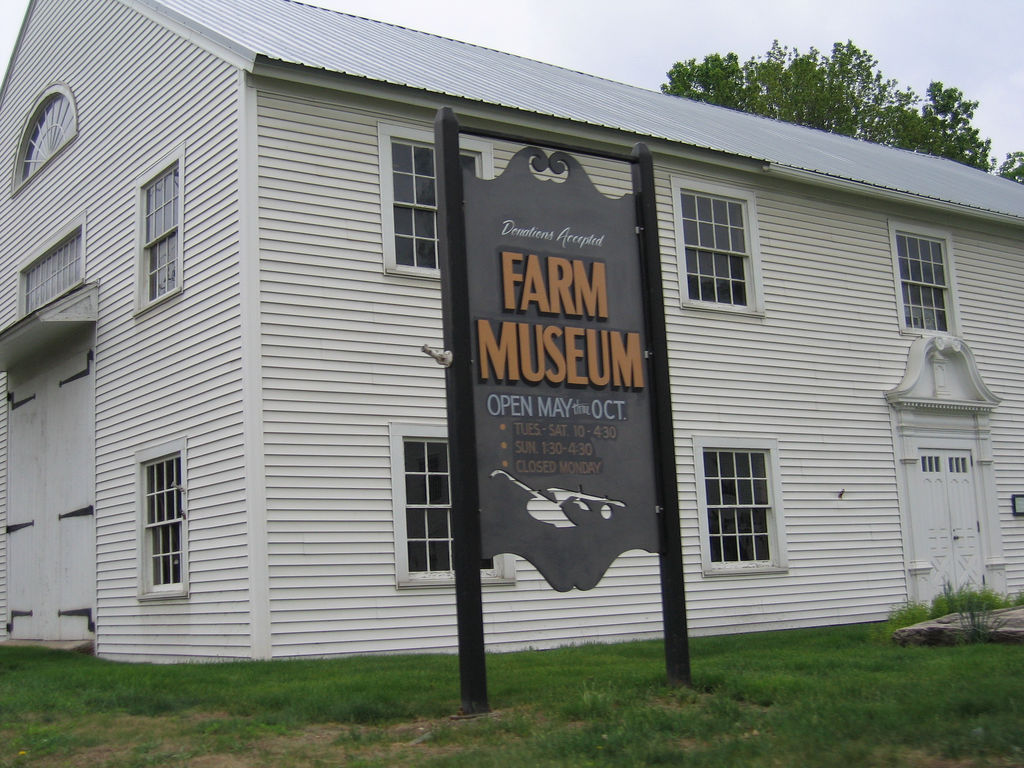 The restored 1782 barn that houses the Hadley Farm Museum