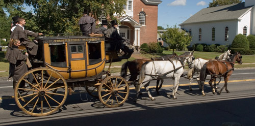 The restored stagecoach in action.