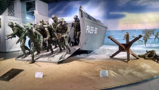 Exhibit depicting soldiers landing on Normandy