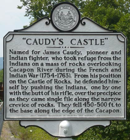 Caudy's Castle Historical Marker