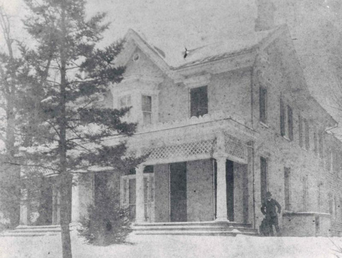 Cedar Hill in February 1887. The man standing near the house is probably one of Frederick Douglass's sons or grandsons. Source: NPS