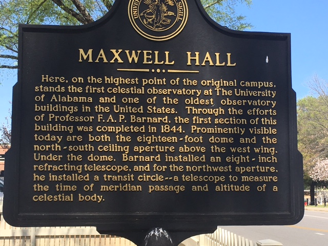 The marker in front of Maxwell Hall building