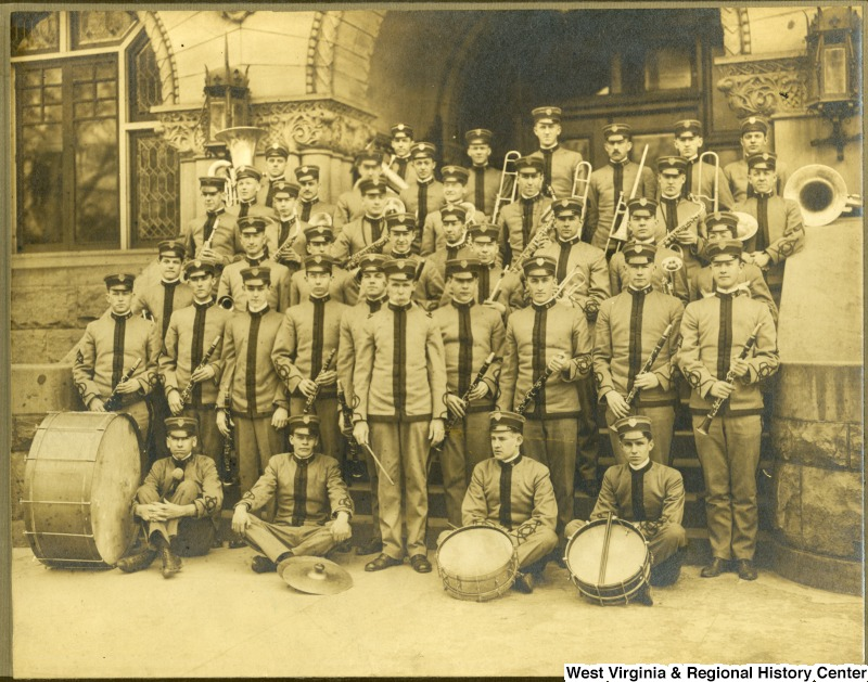 Mestrezat's Corps of Cadets in front of the original Wise Library at West Virginia University, courtesy of the West Virginia and Regional History Center website