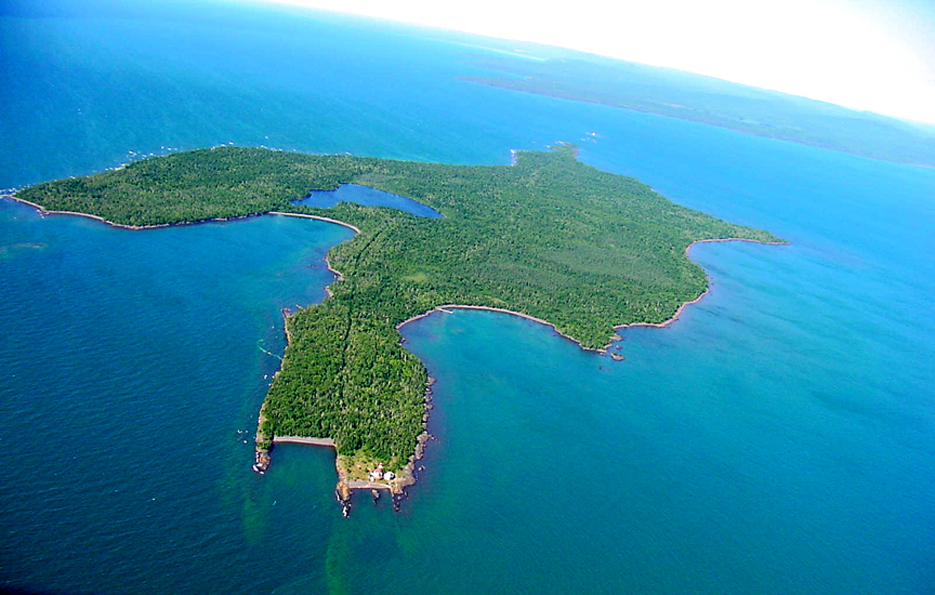 Manitou Island. The station is located at the bottom. At the top is the tip of the Keweenaw peninsula