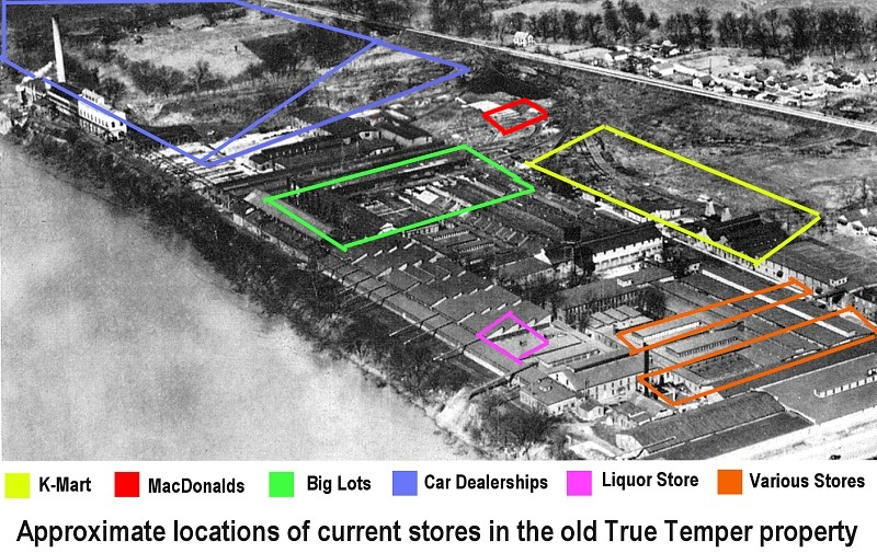 Approximate locations of current commercial buildings that occupy the old Kelly Axe and Tool Company property.