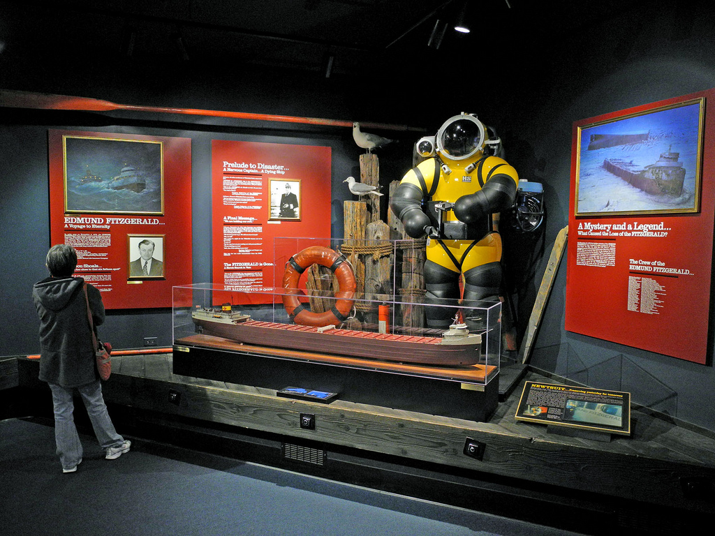 The Edmund Fitzgerald Exhibit, with a model of the ship