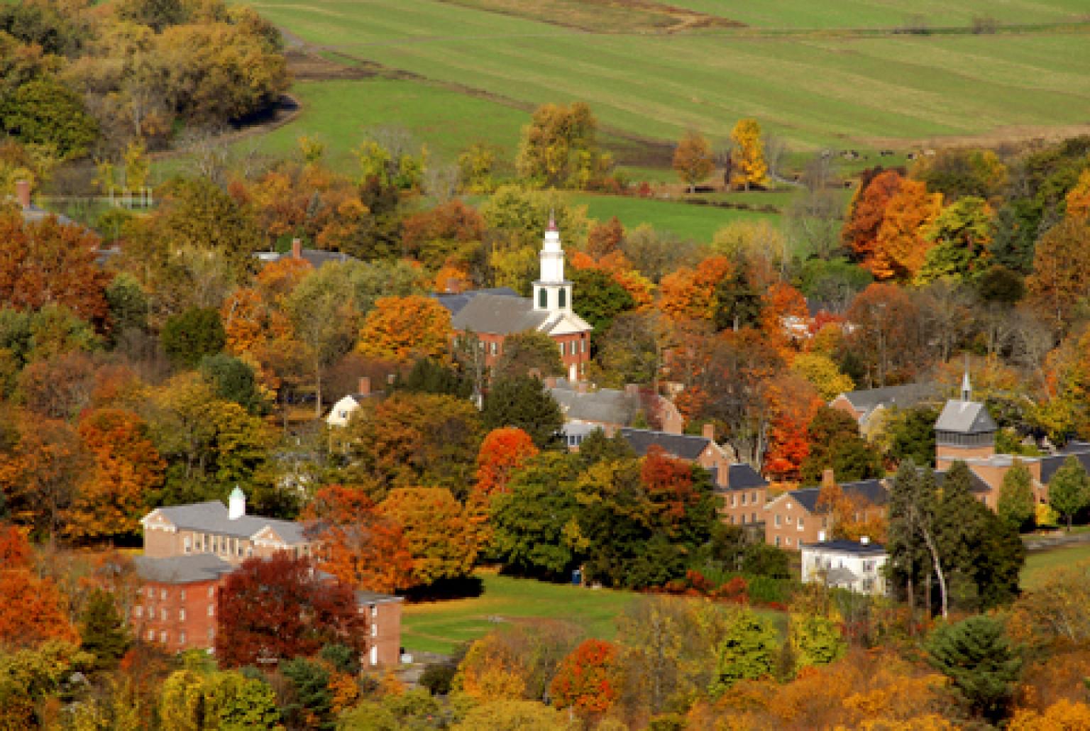 An overhead shot of Historic Deerfield.