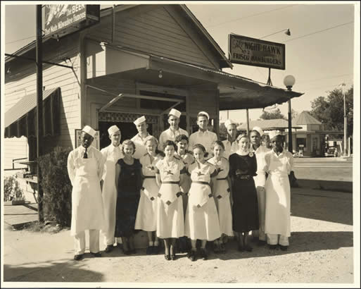 Night Hawk restaurant employees in front of the Night Hawk Number 2 at 1814 Guadalupe. 