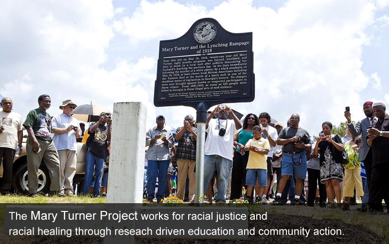 Members of the Mary Turner Project with the historic marker. Learn more about the project by clicking the link below.