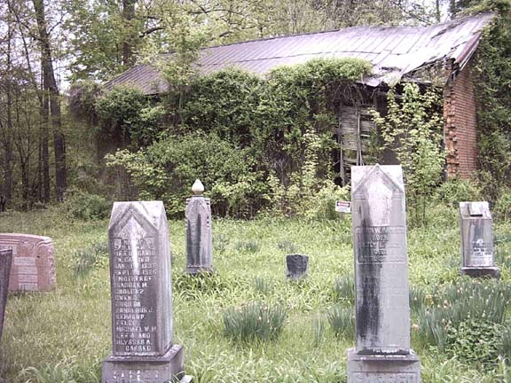 The family cemetery. The chapel can be seen in the background