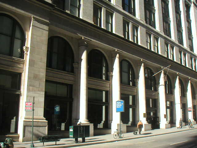 Exterior view of The Science, Industry and Business Library (SIBL) at the former B. Altman building